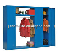 asian clothing store furniture indigo 3 doors multiple metal lockers with long hanging rod for clothes display and storage