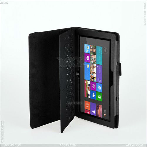 Classic Flip Case + Stand with Auto Wake/Sleep for Microsoft Surface RT (Black PU Leather) P-SurfaceCASE001