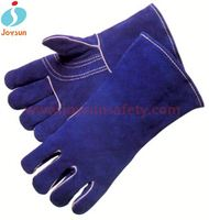 leather safety welding glove reinforced white gloves black light