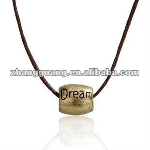 Charm Bead Pendant Custom Engraved Necklace With Leather Chain