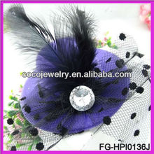 HOT fascinator/sinamay fascinator/sinamay hat in SPECIAL shape with feathers for hair accessory/races/church/wedding/party