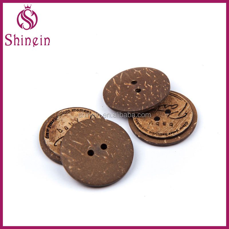 30mm hole natural coconut buttons round shape sewing flatback brown buttons for shirt