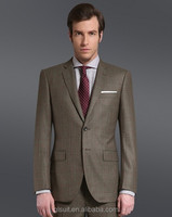 Super 110's Wool 100% Notch Lapel Brown checks two buttons mens jackets