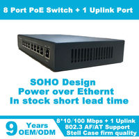 2015 Hot sell 8 port POE switch suitable for Hikivision and Dahua cameras 100Mbps Fast switch
