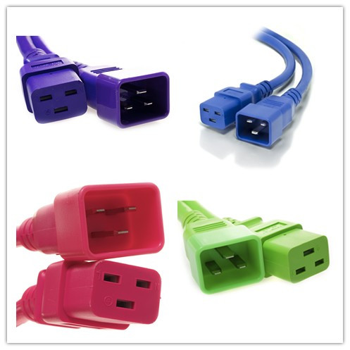 Custom-made Color IEC C19 to C20 extension power cords
