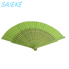 Customized wooden fabric folding fan for promotion event