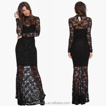 Black lace top long sleeve dress women maxi dress