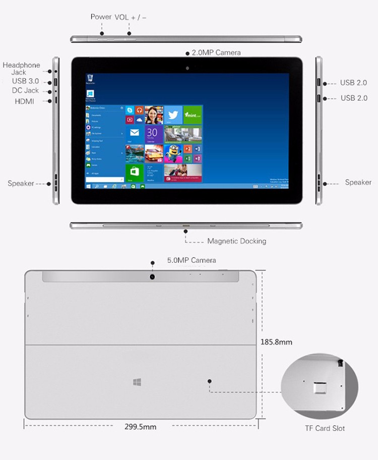 10 Point Capacitive Touch Screen Intel Cherry Trail Z8300 Windows 10 1080P Wifi HDMI 11.6 Inch Windows Tablet with kickstand