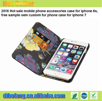 2016 Hot sale mobile phone accessories case for iphone 6s, free sample oem custom fur phone case for iphone 7
