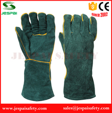 14 inches Factory Dark Green Leather Safety Gloves with Lining