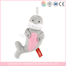 Promotional custom stuffed dolphin animal shaped plush keychain toy