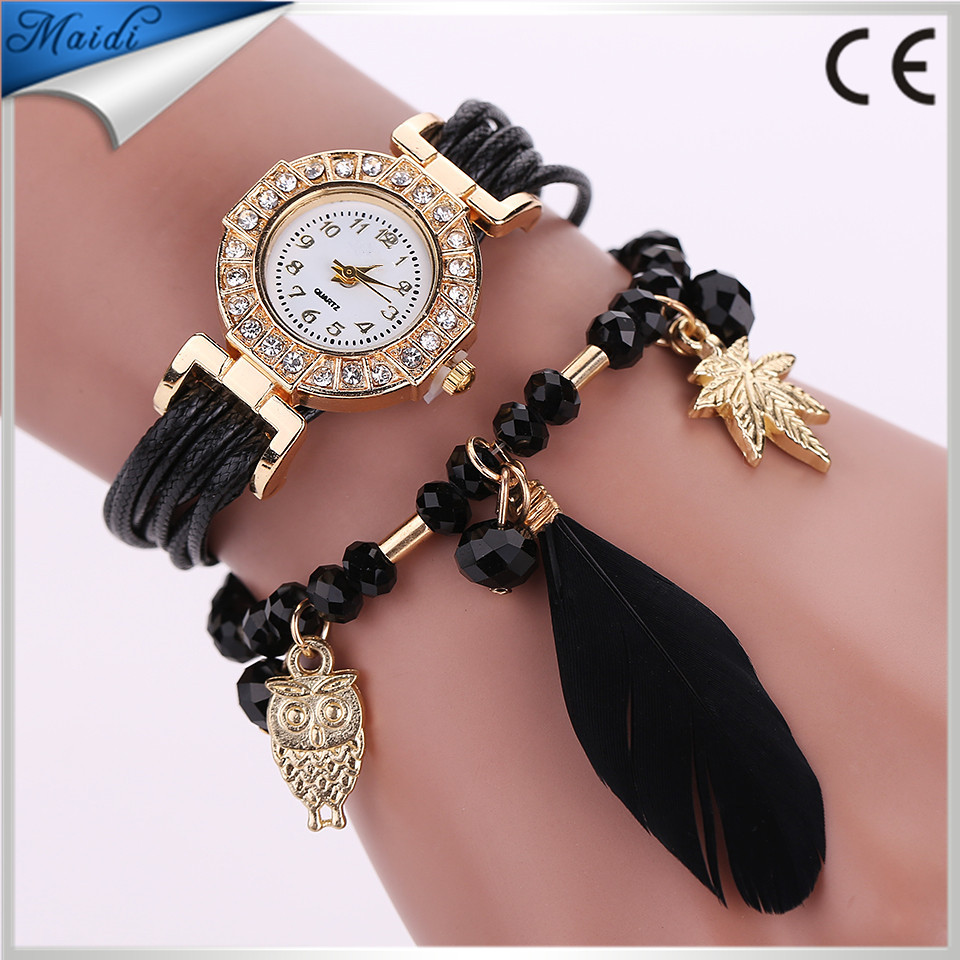 China Cheaper 2017 Wristwatch Women Dress Wrap Feather Pendant Synthetic Leather Strap Watches Bracelet Wristwatch WW050