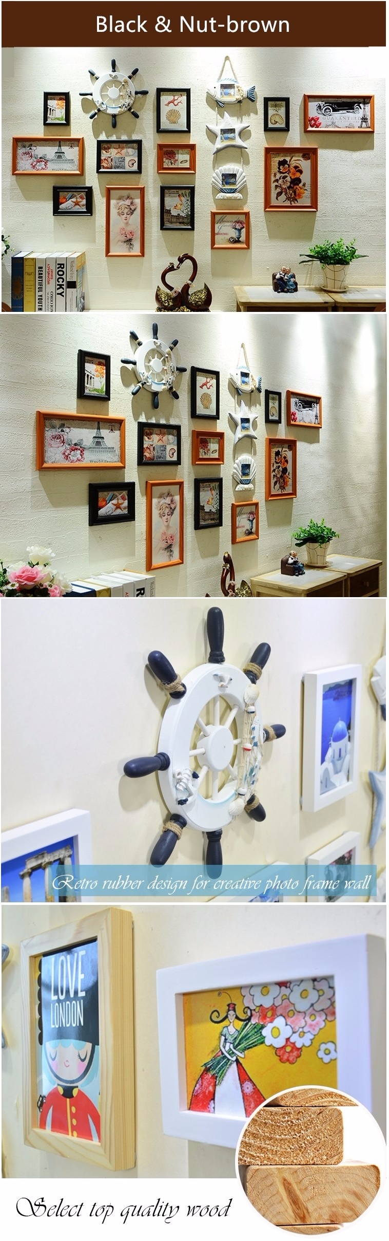 QS-41313D Creative Combination Wall Photo Frame Mediterranean Style Funny Wood Photo Frame