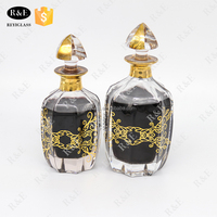 Dubai perfume oud oil glass bottle in 150ml and 250ml with golden decal and gold painting by hand