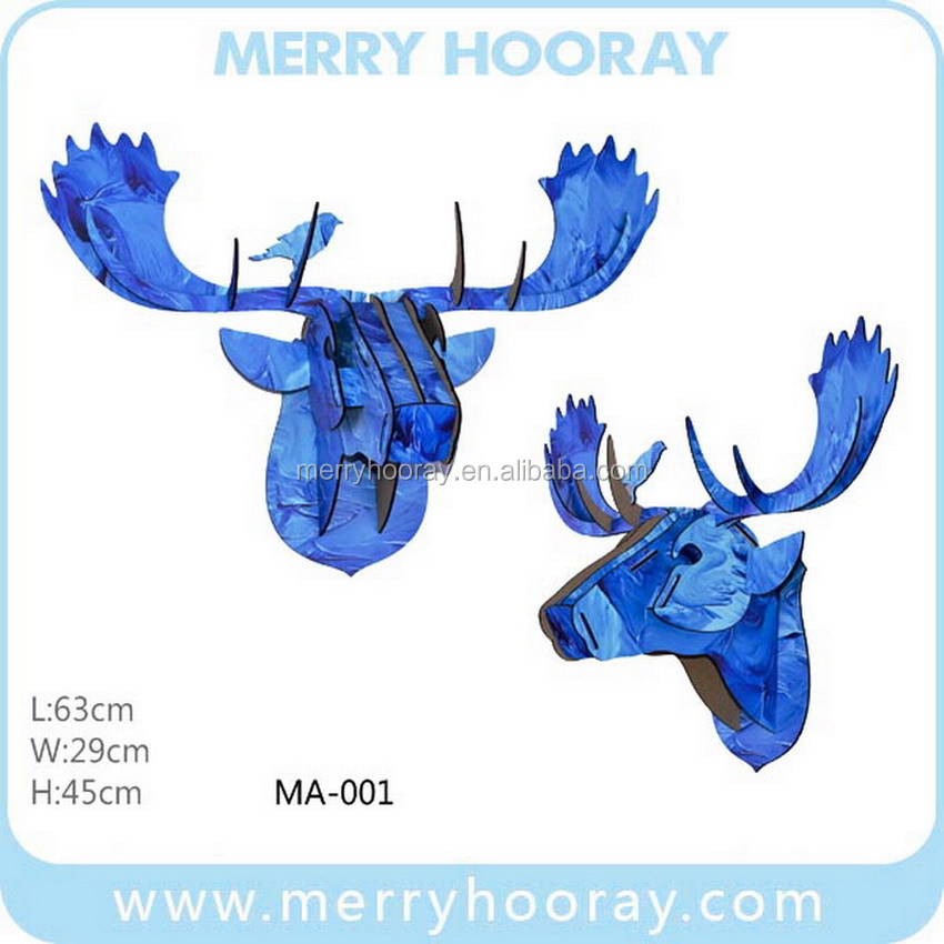 Indian Wood Moose Deer Head for Wall Hanging Decorations