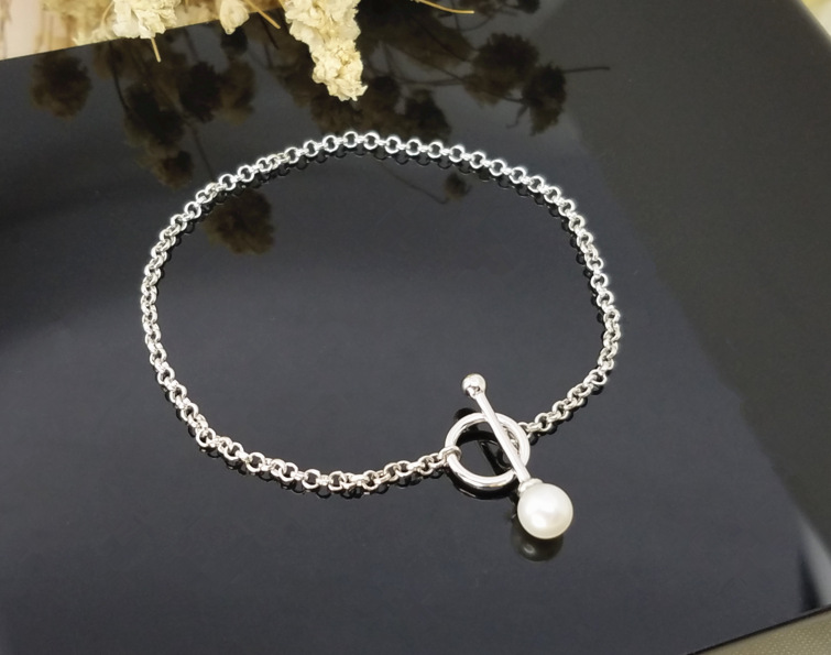 925 sterling silver real fresh water pearl bracelet wholesale