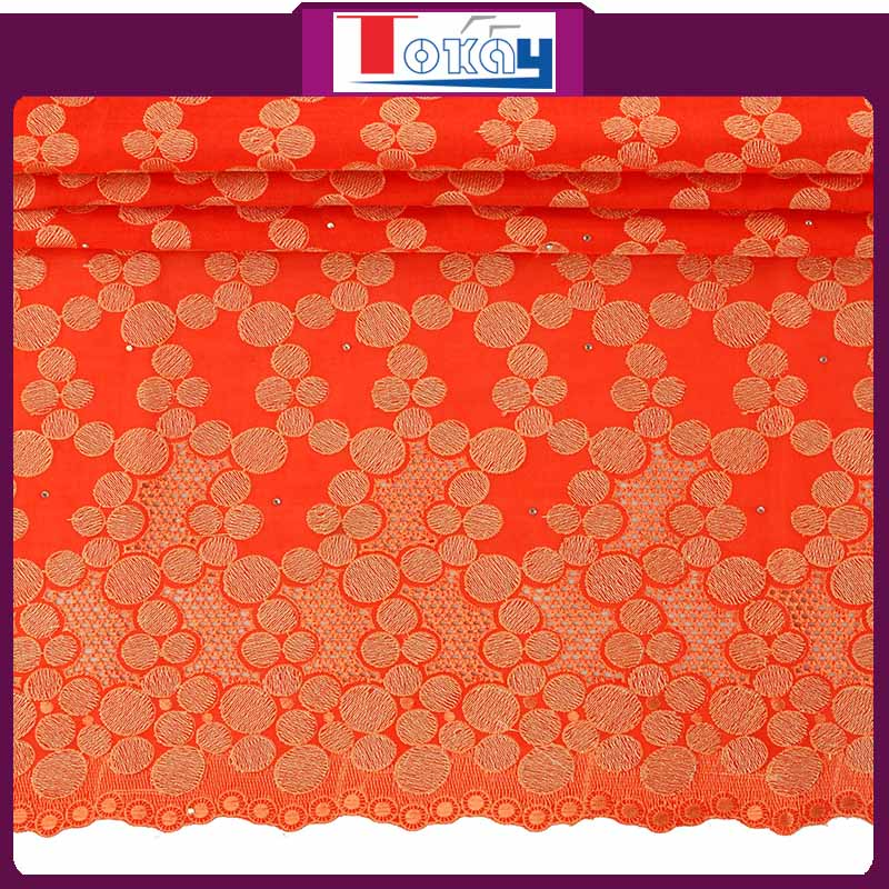 High Quality Swiss Embroidery Cotton Swiss Lace Textiles With Stone