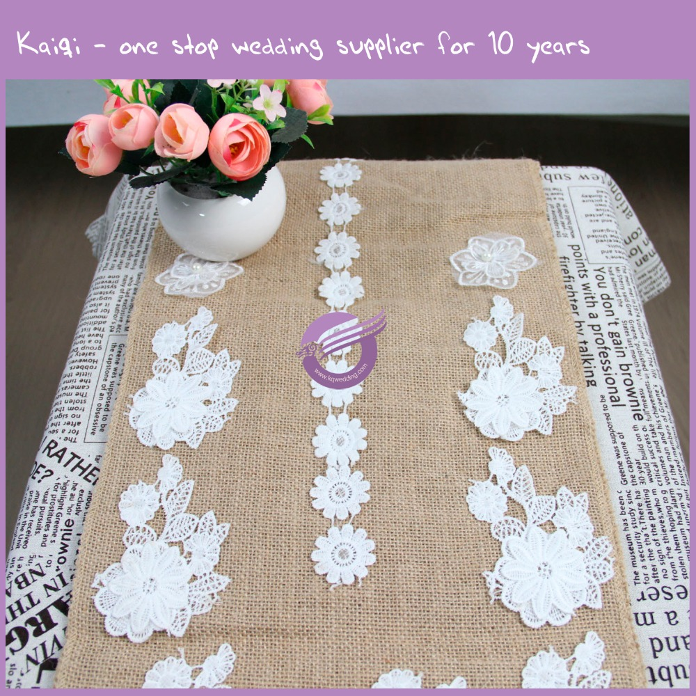 KA014 Fancy hotsale ! new burlap with lace burlap table runner