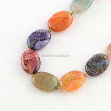 Colorful Dyed Gemstones Slices Natural Agate Oval Bead Strands
