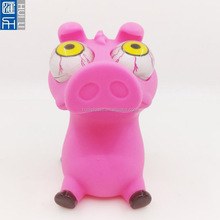 Custom vinyl pig eye pop toy,OEM pvc vinyl pig shape eyes pop out toys ,Custom big eyed pop out soft animal toy