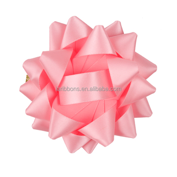 New Wholesale Pre Made Pantone Pink Gift Ribbon Star Bow