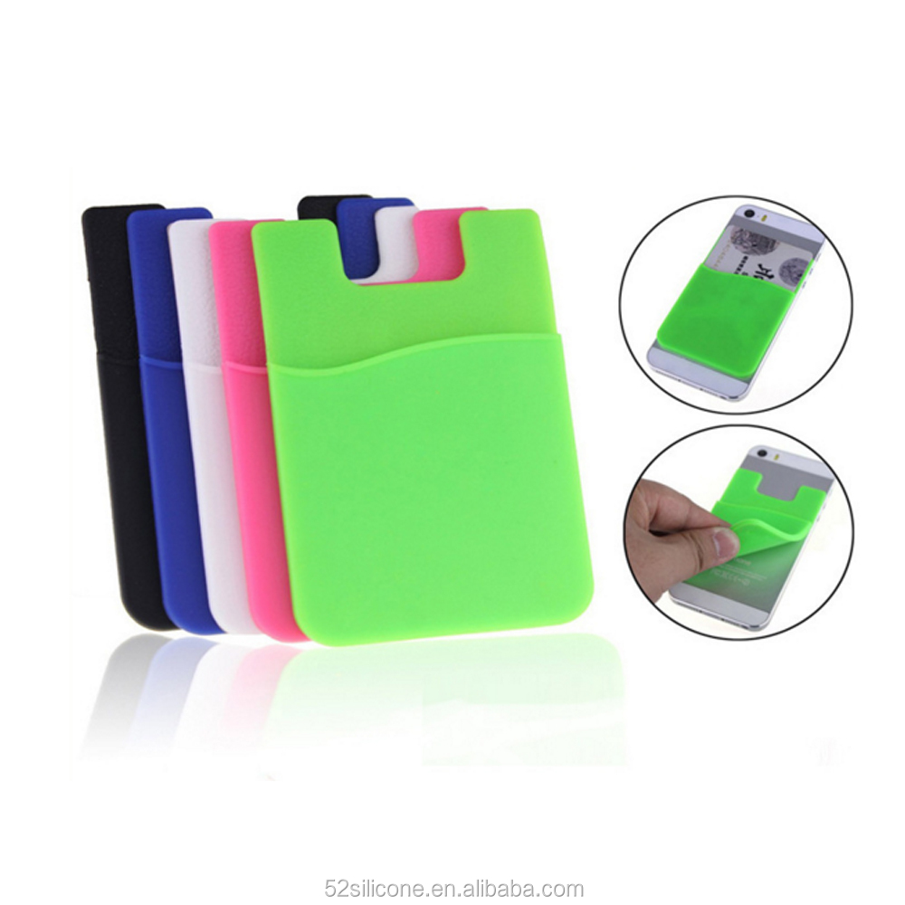 Colorful Custom Logo Silicone Credit Card Holder Pocket Mobile Phone Card Holder