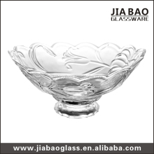 Elegant antique large glass salad bowl transparent glass fruit bowls with stem