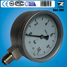 100mm bottom type stainless steel case movement bourdon tube pressure gauge Wika type manometer 10bar