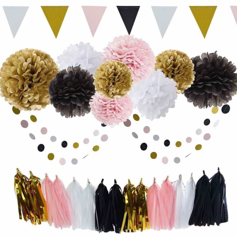 Gold, Black, Pink, White Tissue Pom pom Balls with Dot Circle Garland, Decoration Birthday Tassel And Beautiful Banner Party Set