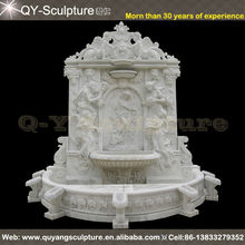 Artificial White Water Marble Wall Fountain Lady And Lion Head