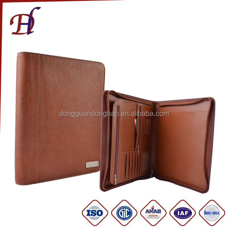 Men Pu Leather Folders Padfolio Organizer Case A4 Size Bag File Folder Leather Portfolio