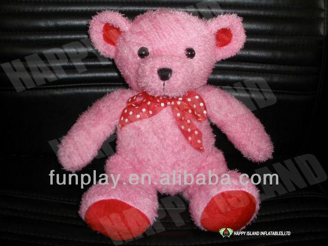 HI CE stuffed soft fabric red velvet bear doll pattern