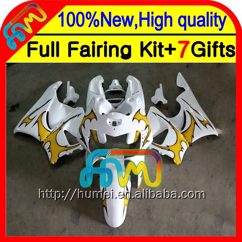 7gifts For HONDA CBR919RR 98-99 CBR900RR 98 99 35CL10 Yellow flames CBR 919RR CBR 919 RR CBR919 RR 1998 1999 Fairing White