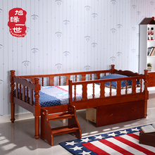 Natural pine wood kids furniture safe stairs design child bed