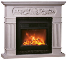 Classic White 3 Sided Polystone Mantel Electric Fireplaces with Fake Flame