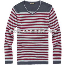 12STC0706 horizontal striped mens v shape sweater