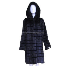 Stripe design mink plet from chinese fur factory turkey fur coat marten fur