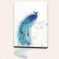 Modern Art Home Wall Decor Canvas Framed Painting Watercolour Peacock Print Picture For Living Room