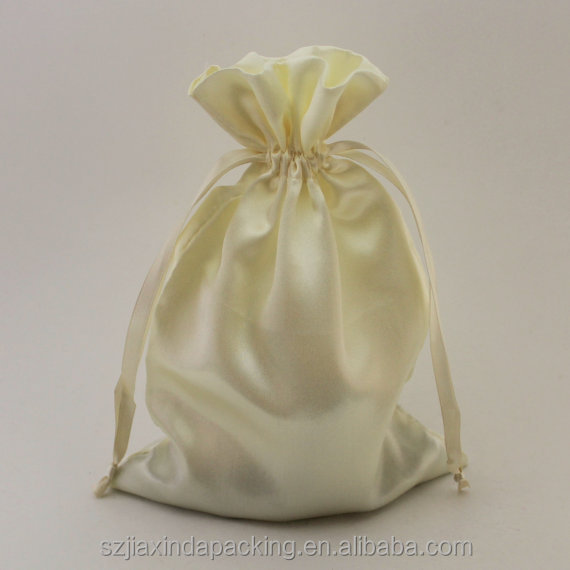 White Satin Drawstring Pouch bags