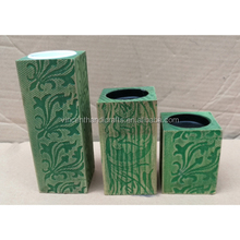 Primitive pillar shape carve patterns wooden pillar candle holder for wedding, hirthday, holiday & home decoration