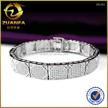 high quality hip hop paved clear aaa cz silver bling bling mens bracelets