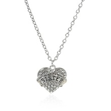 "New Fashion Silver Tone "" SISTER "" Carved Heart Pendant Clear Rhinestone Link Cable Chain Necklace"
