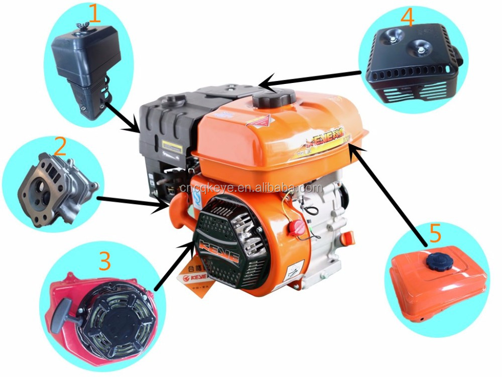 Best quaity !factory price 7hp Low Consumption Muffler petrol engine with top spare parts
