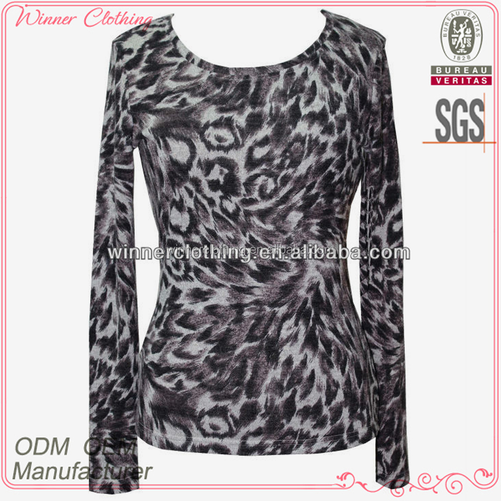 sexy ladies long sleeve tight fit printed t-shirts