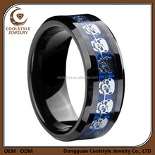 Best selling products 8mm black blue titanium ring silver skull skeleton inlay wedding band