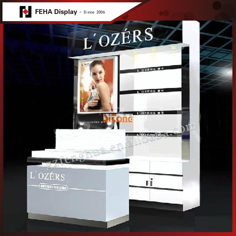 exhibition stands displays cosmetics display floor stand with lights