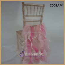 C009AM jenny bridal blush and fuschia organza cheap chair cover wedding