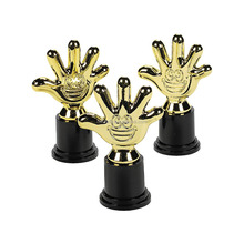 Hot Sale Manufacturing Customized Assembled Personalized Fashion Cheap Plastic Gold High Five Souvenirs Trophy with Hand Shaped