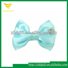 Light blue satin fabric bowknot for hair accessories