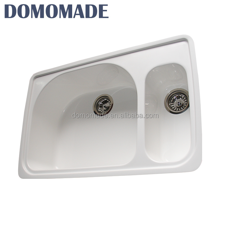 Custom design matt white / glossy white durable solid surface industrial double bowl kitchen sink